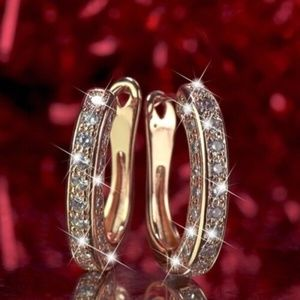 New 18k Gold Plated Cubic Zirconia Hoop Earrings